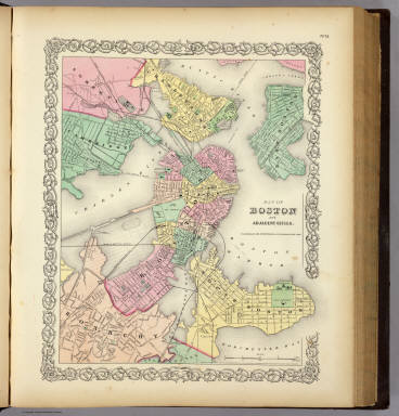 Map Of Boston And Adjacent Cities. Published by J.H. Colton & Co. 172 William St. New York. Entered ... 1855 by J.H. Colton & Co. ... New York. No. 13.