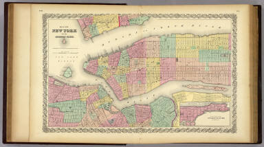 Map Of New York And The Adjacent Cities. / Colton, G.W. / 1856