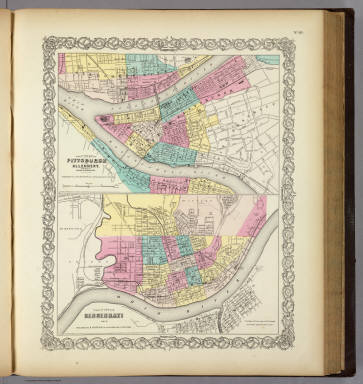 The Cities Of Pittsburgh ... Allegheny ... Cincinnati. / Colton, G.W. / 1856