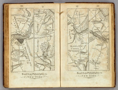 Road from Philadelphia to New York. (Maps) 10, 11, 12 and 13. W. Harrison, Junr. sc.