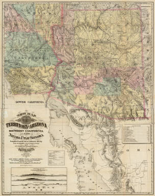 New Map Of The Territory Of Arizona, Southern California And Parts Of Nevada, Utah And Sonora. Compiled from the latest authentic data by Lieut. J.C. Mallery, A.M., U.S. Engineer Corps, and J.W. Ward, Civil & Topographical Engineer. 1876. 1877. Office 105 Stockton St. San Francisco. Payot, Upman & Company, Publishers and Wholesale Stationers, 204 Sansome Street, (near Pine) San Francisco. Britton, Rey & Co. Lithrs. S.F. Entered ... 1876, by Lieut. J.C. Mallery & J.W. Ward ... Washington. (with 3 inset profiles) Geological Sections From The Verde River To The Gila River, Arizona Ter ...