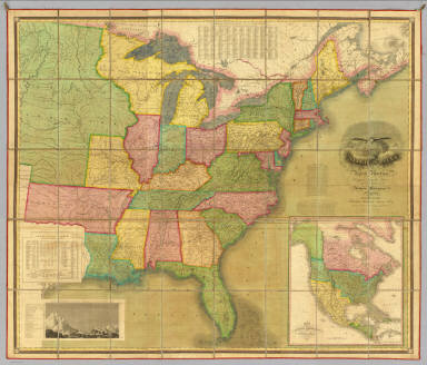 Map Of The United States Of North America. Compiled from the Latest And Most Authentic Information By David H. Vance. Philadelphia Published by Anthony Finley. Entered ... July 12th, 1825. Engraved by J.H. Young. (inset) Map Of North America Including All The Recent Geographical Discoveries 1825. (inset profile) Comparative Elevation of the Principal Mountains and Hills in the United States.