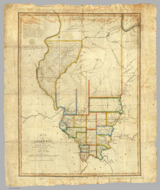 1820 Map of Illinois by John Melish