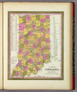 New Map Of Indiana. / Mitchell, Samuel Augustus / 1846