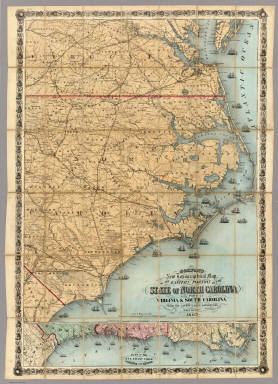 Colton's New Topographical Map Of The Eastern Portion Of The State Of North Carolina With Part Of Virginia & South Carolina From The Latest & Best Authorities. Published by J.H. Colton, No. 172 William St. N.Y. 1863. Entered ... 1860 by J.H. Colton ... New York. Printed by Lang & Cooper, 117 Fulton St. N.Y. (inset) Plan Of The Sea Coast From Virginia To Florida.