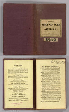 (Covers to) Map Of The Seat Of Civil War In America. October, 1862. Davies & Co. 1, Finch Lane, London. Maclure, Macdonald & Macgregor, 37, Walbrook, London, Lithographers by Steam Power. (inset) Enlarged Plan Of The Site Of The Most Recent Battles.