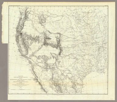 Map Of The United States And Their Territories Between The Mississippi And The Pacific Ocean And Part Of Mexico Compiled From The Surveys Made Under The Order Of W.H. Emory. ... And from the Maps of the Pacific Rail Road, General Land Office, and the Coast Survey. Projected and drawn under the supervision of Lt. N. Michler, Topl. Engrs. By Thomas Jekyll, C.E. 1857-8. Engraved by Selmar Siebert. Selmar Siebert's Engraving and Printing Establishment. Washington, D.C. Lettering by F. Courtenay. (above map) United States & Mexican Boundary Survey. General Map.