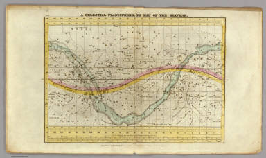 A Celestial Planisphere, or Map of the Heavens. (Pl. VIII.) Engraved by W.G. Evans under the Direction of E.H. Burritt. Hartford, Published by F.J. Huntington 1835. Entered according to act of Congress Septr. 1st 1835, by F.J. Huntington, of the State of Connecticut.