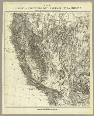 Map Of California And Nevada, With Parts Of Utah & Arizona. Prepared in the Office of the Chief Of Engineers U.S.A. 1879.