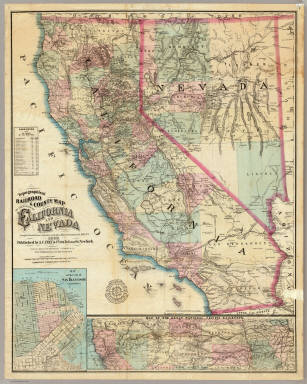 Topographical Railroad & County Map Of The States Of California And Nevada Compiled from the latest explorations and other official information by L. Nell, N.Y. Published by A.C. Frey & Co 204 Fulton St. New York. General Agents for California A. Roman & Co. 417 & 419 Montgomery St. San Francisco. Ferd. Mayer & Co. Lithographers, 96 Fulton St. N.Y. Entered ... 1868 by Frey & Nell ... New York. (inset) Map of the City of San Francisco, California. (inset) Map Of The Great National Pacific Railroads.