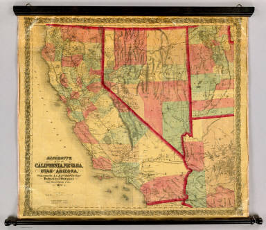 Bancroft's Map Of California, Nevada, Utah And Arizona. Published By A.L. Bancroft & Compy. Booksellers & Stationers, San Francisco, Cal. 1873. Entered ... by A.L. Bancroft & Company ... Washington, D.C.