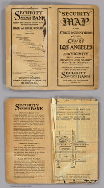 """(Covers to) Security Map And Street Railway Guide of the City of Los Angeles and Vicinity with Map of Beaches and nearby Points of Interest. Copyright 1908 by Security Savings Bank Los Angeles, California ... Presented Free With Compliments Of Security Savings Bank. Security Bldg. Spring And Fifth Sts. (inset) Extension Of Hollywood. (inset) Extension Of Garvanza South Pasadena. (inset) Map Showing The """"Shoestring"""" Annexed to the City of Los Angeles. (on verso, map of the Vicinity of Los Angeles) Security Map 1907. (on verso) Depot Lines."""