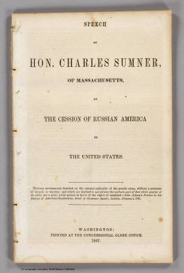 Title Page: On the cession of Russian America to the United States. / Sumner, Charles ; United States Coast Survey / 1867