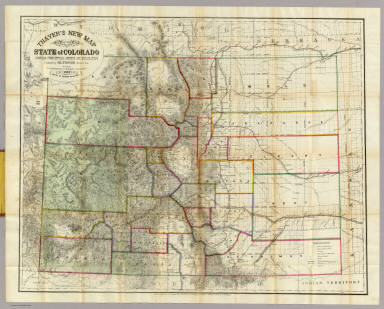 Thayer's New Map Of The State of Colorado. / Thayer, H.L ; Rollandet, Edward / 1880