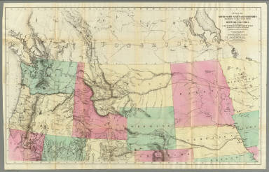 General Map of the North Pacific States and Territories Belonging to the United States and of British Columbia, Extending from Lake Superior to the Pacific Ocean and Between Latitude 39 degrees and 53 degrees North. Exhibiting Mail Routes, Gold Mines, and Including the Most Recent Surveys of the Topographical Bureau. Prepared by Captain John Mullan. ... Drawn by Edward Freyhold, T.E. Lithographed by J. Bien, 24 Vesey, St. N.Y.