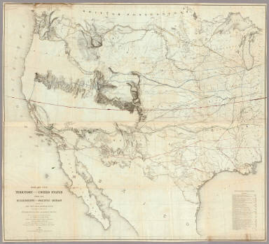 Map Of The Territory Of The United States From The Mississippi To The Pacific Ocean Ordered by the Hon. Jeff'n Davis, Secretary Of War To accompany the Reports of the Explorations For A Railroad Route ... Compiled from authorized explorations and other reliable data by Lieut. G.K. Warren, Topl. Engrs. In the Office of Pacific R.R. Surveys, War Dep. under the direction of Bvt. Maj. W.H. Emory and Capt. A.A. Humphreys, Topl. Engrs. 1855. Engr. by Selmar Siebert.