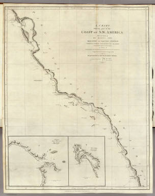 A Chart shewing part of the Coast of N.W. America, With the Tracks of His Majesty's Sloop Discovery and Armed Tender Chatham, Commanded by George Vancouver Esqr. and prepared under his immediate inspection by Lieut. Joseph Baker, in which the Continental Shore has been traced and determined from Lat. 30¼00'N. and Long. 244¼32' E. to Lat. 38¼30'N and Long 237¼13'E. Engraved by T. Foot, Weston Place, Battle Bridge. No. 8. (with) Entrance of Port Sn. Francisco. (and) Port Sn. Diego. London: Published May 1st 1798, by J. Edwards Pall Mall & G. Robinson Paternoster Row.