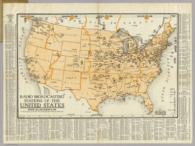 Radio Broadcasting Stations Of The United States. / Clason Map Company / 1930
