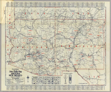 McNally Official Auto Trails Map Arizona New Mexico Rand - Map of arizona and new mexico