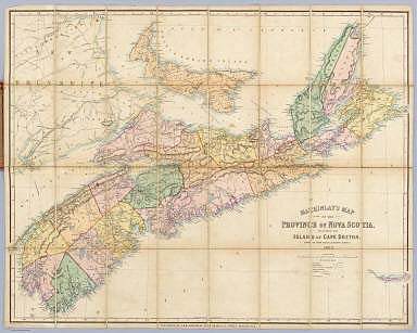 Mackinlay's map of the Province of Nova Scotia, including the island of Cape Breton. Compiled from actual & recent surveys. Published By A. & W. Mackinlay, No. 10 Granville Street, Halifax, N.S. Engraved by G. Philip & Son, Liverpool. Drawn by W.A. Hendry.