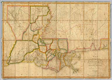 A Map of the State of Louisiana With Part Of The Mississippi Territory, from Actual Survey By Wm. Darby. Entered ... 8th day of April 1816, by William Darby. Saml. Harrison Sct. Philad. Philadelphia, Published May the 1st 1816, by John Melish.