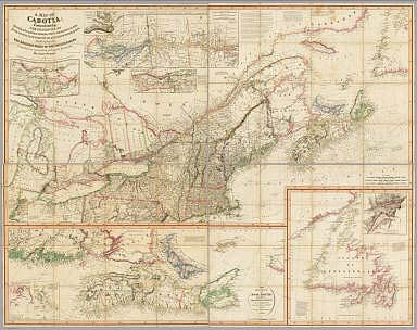 A Map Of Cabotia, Comprehending The Provinces Of Upper And Lower Canada, New-Brunswick, And Nova-Scotia, With Breton Island, Newfoundland, &c. And Including also The Adjacent Parts Of The United States. Compiled from a great Variety of Original Documents, By John Purdy. Published 12th October, 1814, by Jas. Whittle And Richd. Holmes Laurie, No. 53, Fleet Street, London. Engraved by Thomson & Hall, 14, Bury Str. Bloomsby. (with 10 inset maps).