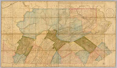 A Map Of The State Of Pennsylvania. By Reading Howell MDCCXCII. To Thomas Mifflin Governor, The Senate, And House Of Representatives Of The Commonwealth Of Pennsylvania, This Map is respectfully Inscribed by the Author. Published 1 August 1792 for the Author, & Sold by James Phillips, George Yard, Lombard Street, London.