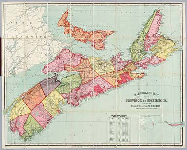 Mackinlay's map of the Province of Nova Scotia, including the island of Cape Breton. Compiled from actual & recent surveys. Published By A. & W. Mackinlay, No. 135 & 137 Granville Street, Halifax, N.S. Engraved by G. Philip & Son, Liverpool. Drawn by W.A. Hendry. (1890)