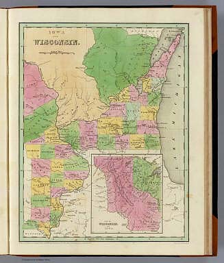Iowa And Wisconsin. (with) Part Of Wisconsin And Iowa. Engraved by G.W. Boynton. Entered ... 1838, by T.G. Bradford ... Massachusetts.