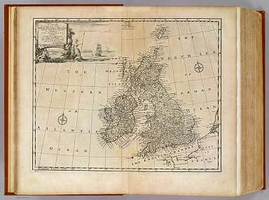 A new and accurate map of Great Britain & Ireland, together with their respective islands &c. Drawn from surveys and the most approved maps and charts. The whole being regulated by astronomical observations, by Emanl. Bowen. (London: Printed for William Innys, Richard Ware, Aaron Ward, J. and P. Knapton, John Clarke, T. Longman and T. Shewell, Thomas Osborne, Henry Whitridge ... M.DCC.XLVII)