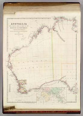 Australia from surveys made by order of the British Government combined with those of D'entrecasteaux, Baudin, Freycinet &c.&c. By John Arrowsmith. 1842. (with) inset map of the Eastern Hemisphere. London, Pubd. 1st May 1842, by John Arrowsmith, 10 Soho Square.