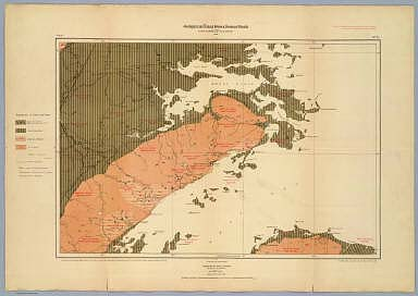Province of Nova Scotia (Island of Cape Breton). Geological and Natural History Survey of Canada. Alfred R.C. Selwyn, LL.D., F.R.S. &c. Director. 1884. The Burland Lith. Company Montreal. Compiled and drawn by Hugh Fletcher, from plans made by the Admiralty, the Department of Crown Lands, Nova Scotia, and the Geological Survey. To illustrate Reports by Hugh Fletcher, 1879 to 1884. Sheet no. 18.