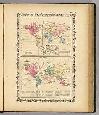 Map of The World Showing ... The Animal Kingdom ... Commerce And Navigation. / Johnson, A.J. / 1860