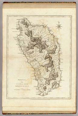Dominica from an actual survey compleated in the year 1773. (By Thomas Jefferys). London, printed for Robt. Sayer, Map and Printseller, no. 53 in Fleet Street, as the Act directs, 20 Feby. 1775.