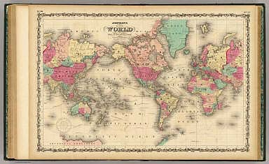 Map Of The World on Mercator's Projection. / Johnson, A.J. / 1860