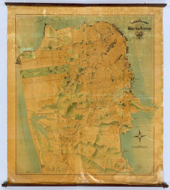 """The """"Chevalier"""" Commercial, Pictorial and Tourist Map of San Francisco From Latest U.S. Gov. and Official Surveys. Designed-Engraved And Copyrighted By Aug. Chevalier, Lithographer Publisher, San Francisco ... copyrighted 1911 ..."""