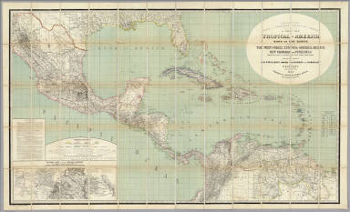 H. Kiepert's Karte des nordlichen tropischen America. A new map of Tropical-America north of the equator comprising the West-Indies, Central-America, Mexico, New Granada and Venezuela. Composed with the help of all cartographic and litterary (sic) materials hitherto published and dedicated by permission to His Excellency Baron Alexander von Humboldt By H. Kiepert, Ph. Dr. M.R., Acad. Berlin, F. Geogr. Soc. of. Berlin, Paris and Vienna. 1858. Published by Dietrich Reimer, Berlin. Lithogr. and printed by C. Monecke, Berlin. Lith. Inst. von C. Monecke in Berlin. (with) Central part of the Mexican Republic ... based on the surveys published by A.v. Humboldt, v. Gerolt, Heller, Smith and the Sociedad Mejicana de Geografia t Estadistica.