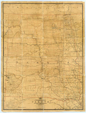 """Post route map of the Territory of Dakota with adjacent parts of Montana, Wyoming, Nebraska, Iowa and Minnesota and portions of the Dominion of Canada showing post offices with the intermediate distances and mail routes in operation on the 1st of December 1885. Published by order of Postmaster General William F. Vilas under the direction W.L. Nicholson, Topographer P.O. Dept. The first edition was issued in 1879. Note: The Service on this diagram brought up to date of Dec. 1st 1885. (seal) Post Office Department United States of America. """"With celerity, certainty and security""""."""
