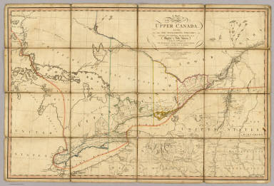 A Map of the Province of Upper Canada, describing all the new settlements, townships, &c. with the countries adjacent, from Quebec to Lake Huron. (1st ed.) Compiled, at the request of His Excellency Major General John G. Simcoe, First Lieutenant Governor, by David William Smyth Esqr., Surveyor General. London, published by W. Faden, Geographer to His Majesty and to H.R.H. the Prince of Wales, Charing Cross, April 12th 1800. Accompanied with a topographical Description. Price 10s. & 6d.