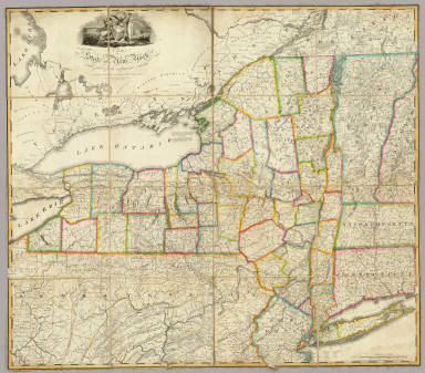 The State of New York with part of the adjacent States. By John H. Eddy, Geographer, New York 1818. Engraved by Tanner, Vallance, Kearny & Co. Philadelphia. Printed by Saml. Maverick N. York. New York Published By James Eastburn & Co. At The Literary Rooms In Broadway.