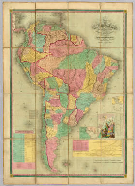 Map Of South America. Carefully Compiled from the Latest Maps & Charts And Other Geographical Publications. Philadelphia: Published by Henry S. Tanner 1845. Engraved by J.H. Young & F. Dankworth Philada. (with 4 inset maps).