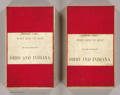 """(Covers to) Post route map of the states of Ohio and Indiana with adjacent parts of Pennsylvania, Michigan, Illinois, Kentucky, and West Virginia showing post offices, with the intermediate distances between them and mail routes in operation on 1st February 1884. Published by order of Postmaster General Walter Q. Gresham under the direction of C. Roeser Jr., Topographer P.O. Dept. 1884. The first edition was issued in 1870 ... (seal) Post Office Department United States Of America. """"With Celerity, Certainty And Security."""" (with) City of Cincinnati and environs."""