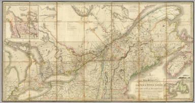 To His most Excellent Majesty King William IVth. This Map of the Provinces of Lower & Upper Canada, Nova Scotia, New Brunswick, Newfoundland & Prince Edward Island, With A Large Section Of The United States, Compiled from the latest & most approved Astronomical observations, Authorities & recent Surveys, Is ... most humbly & gratefully dedicated by ... Joseph Bouchette Junr. Deputy Surveyor General of the Province Of Lower Canada. Engraved by J. & C. Walker, Bernard Street, Russel Square. Published ... by James Wyld ... Charing Cross, London May 2nd 1831. (inset) The British Dominions in North America. (inset) The Gulf Of St. Lawrence, shewing the Geographical position of the Principal Headlands ...