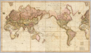 Chart of the world upon Mercator's projection drawn from the most recent geographical materials exhibiting the whole of the new discoveries with the tracks of the principal navigators accurately adjusted from the most exact astronomical observations. London, published By John Cary, No. 181 Strand June 1819.