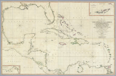 A General Chart of the West Indies And Gulf Of Mexico, describing The Gulf and Windward Passages, Coast Of Florida, Louisiana And Mexico, Bay of Honduras and Musquito Shore, likewise the Coast Of The Spanish Main To The Mouths Of The Orinoco. Drawn from the Surveys taken by Mr. Geo. Gauld, and others, the New Spanish Charts, &c. and adjusted from recent Observations, By J. Foss Dessiou, Master of the Royal Navy. Approved by the Chart Committee of the Admiralty. London, Published by W. Faden ... Charing Cross, June 4, 1808. Engraved by J. Tyrer, Chapel St. Pentonville. (inset) Chart Of The Virgin Islands. (inset) Chart Of The Coast Of Biruquete, Panama & Veragua, From Point Solano To Point Burica.