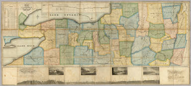 Map of the Western Part of the State Of New York. 1823. By D.H. Vance. Improved and enlarged to the east boundary of the State by J. Ogden Dey 1824. Engraved by Balch, Rawdon & Co. To His Excellency De Witt Clinton ... And ... Stephen Van Rensselaer ... This Map is Inscribed with their permission. By The Publisher John Ogden Dey. Albany January 1825. Copy Right Secured. (with four inset profiles).