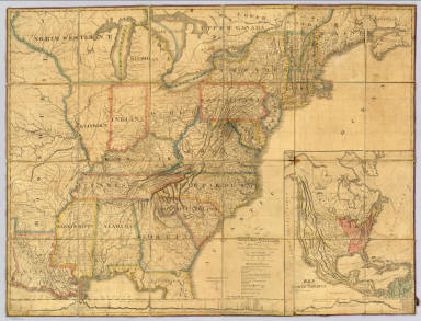 """Map of the United States Partly From New Surveys Dedicated to the Citizens thereof, by their humble servant Chas. Varle Engineer and Geographer 1817. Entered according to Act of Congress. Published by the Author, Baltimore. Engrav'd by J.H. Young Philada. (with) inset Map of North America. (with) inset Physical Sections from """"Washington City to Wheeling and from thence to the mouth of Columbia river"""" and from the """"Pacific Ocean to the Gulf of Mexico."""""""