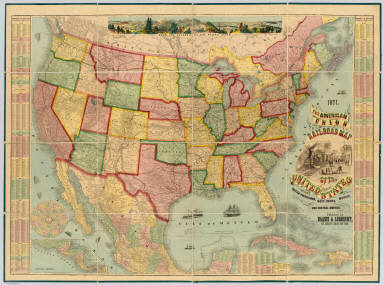 The American Union Railroad Map Of The United States, British Possessions, West Indies, Mexico, And Central America. 1871. Published by Haasis & Lubrecht, 107 Liberty Street, New York. Smith & McDougal, Electrotypers, 82 Beekman Street, New York. (inset) Central America.