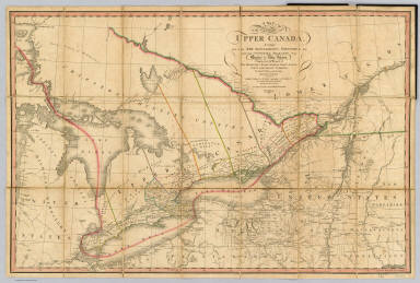 A Map of the Province of Upper Canada, describing all the new settlements, townships, &c. with the countries adjacent, from Quebec to Lake Huron. Compiled, at the request of His Excellency Major General John G. Simcoe, First Lieutenant Governor, by David William Smyth Esqr., Surveyor General. London, published by W. Faden, Geographer to His Majesty and to H.R.H. the Prince of Wales, Charing Cross, April 12th 1800. Accompanied with a topographical Description. Second edition, 1818.