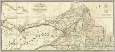 To his most Excellent Majesty, King William IV, this Topographical Map of the District Of Montreal, Lower Canada, Exhibiting The New Civil Division of the District into Counties pursuant to a recent act of the Provincial Legislature, also a large section of Upper Canada, Traversed by the Rideau Canal, Is ... most humbly & gratefully dedicated by ... Joseph Bouchette, His Majesty's Surveyor General of the Province and Lieutt. Colonel C.M. Engraved by J. & C. Walker, 47 Bernard Street, Russel Square. Published by James Wyld ... Charing Cross, London May 2nd 1831. (inset) Continuation of the Rideau Canal from Rideau Lake at A to Kingston.